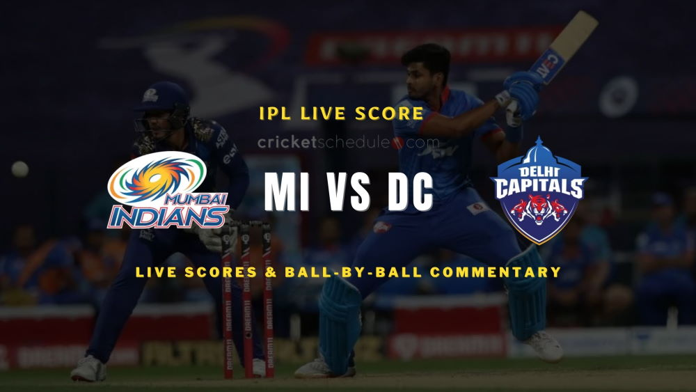 DC vs MI 2021 match live score