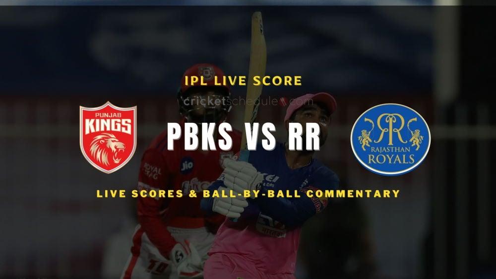 PBKS vs RR 2021 matchlive score
